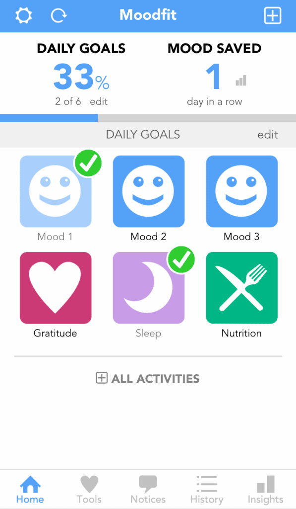 Moodfit home screen