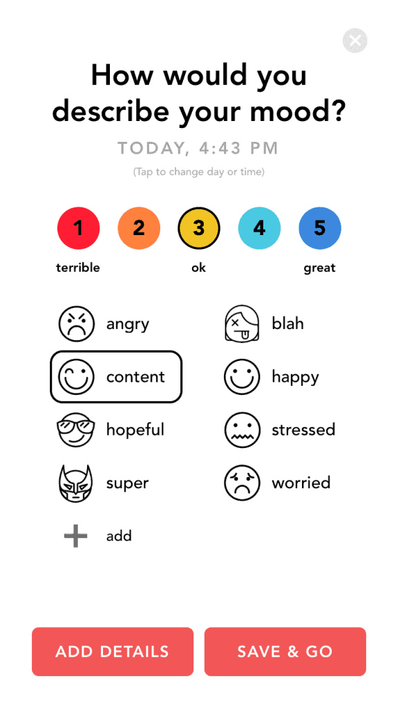 Moody daily mood details screen