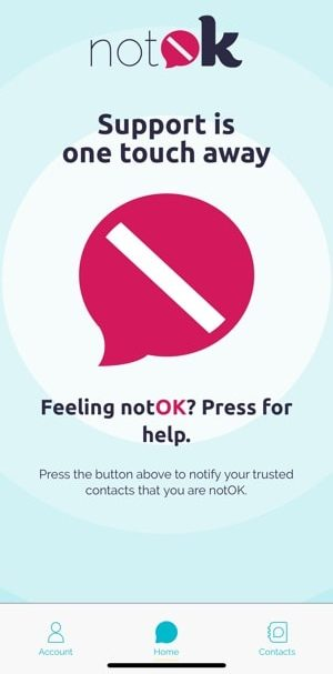notOK home screen