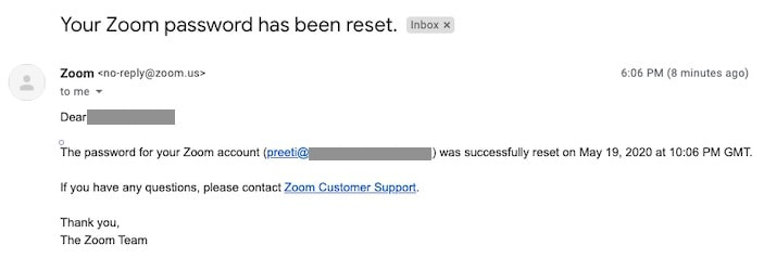 Email confirming that Zoom password has been reset