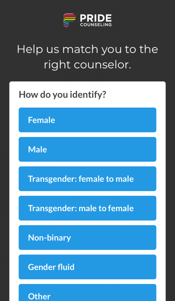 Pride Counseling gender identity selection