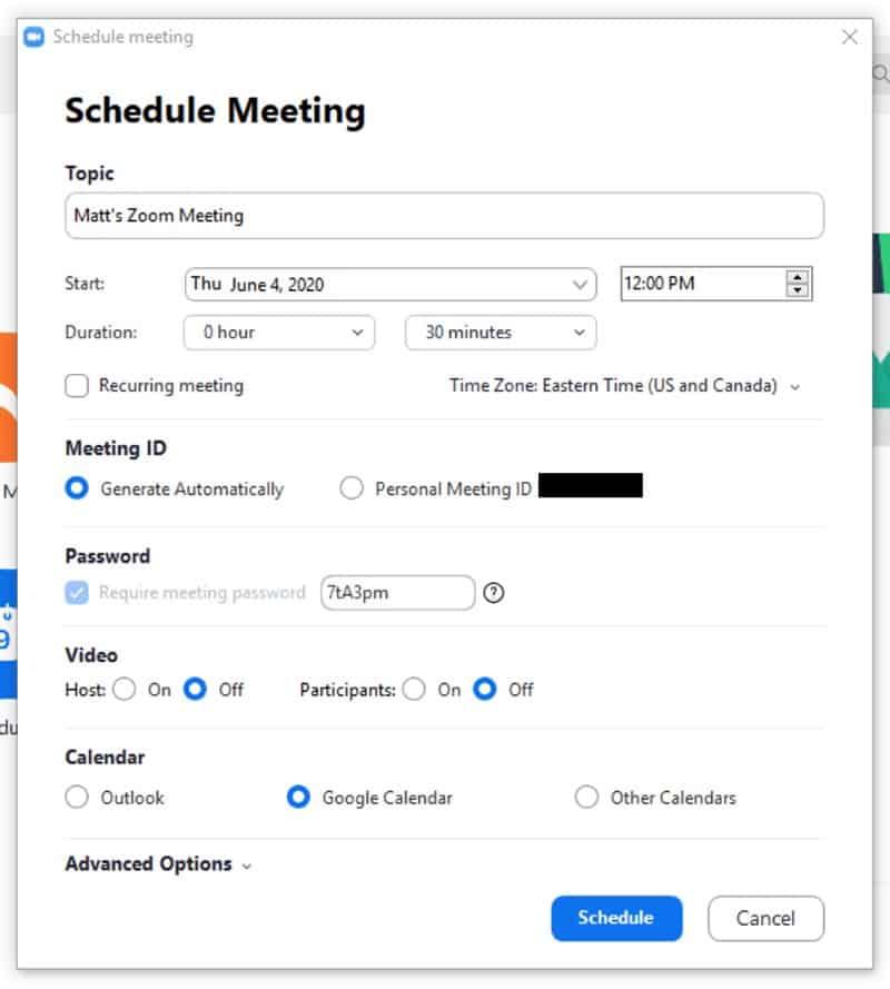 Schedule meeting window