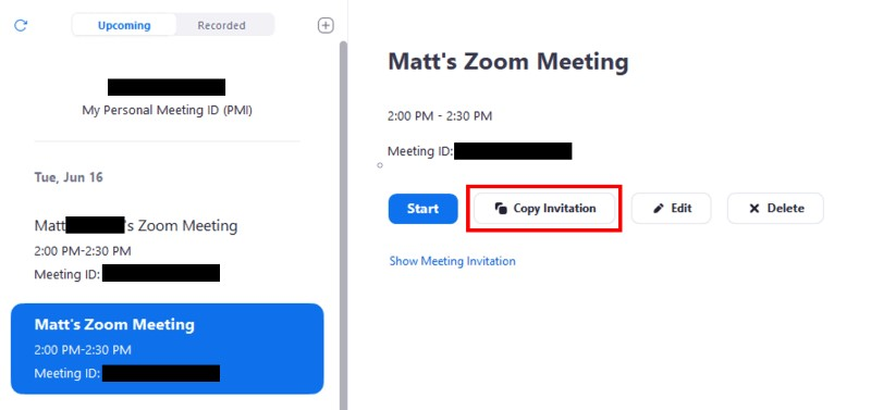 Upcoming meetings list with Copy Invitation button