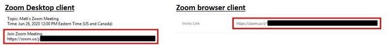 Scheduled meeting invite using invitation link