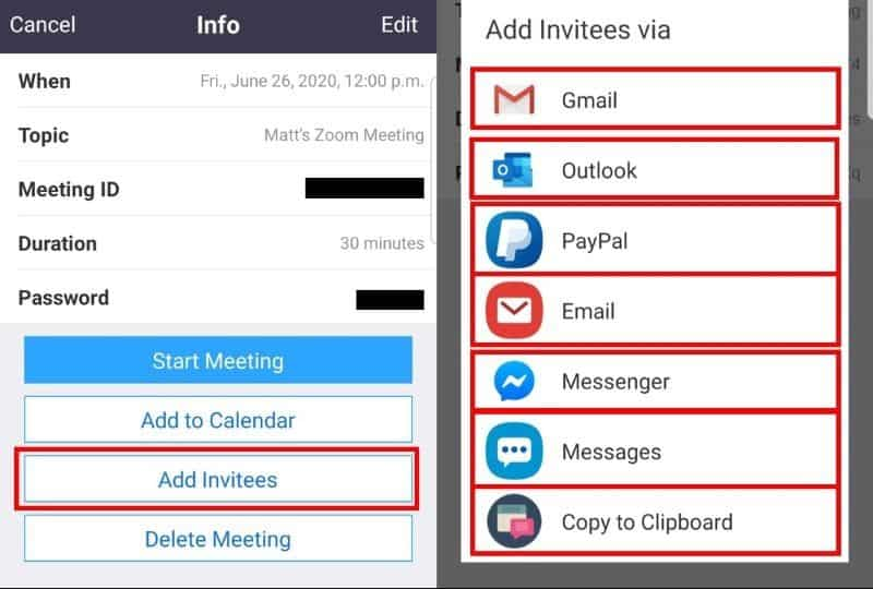 Scheduled meeting mobile app add invitees
