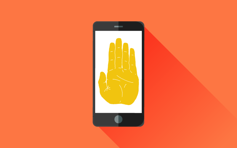 A smartphone displaying a raised hand