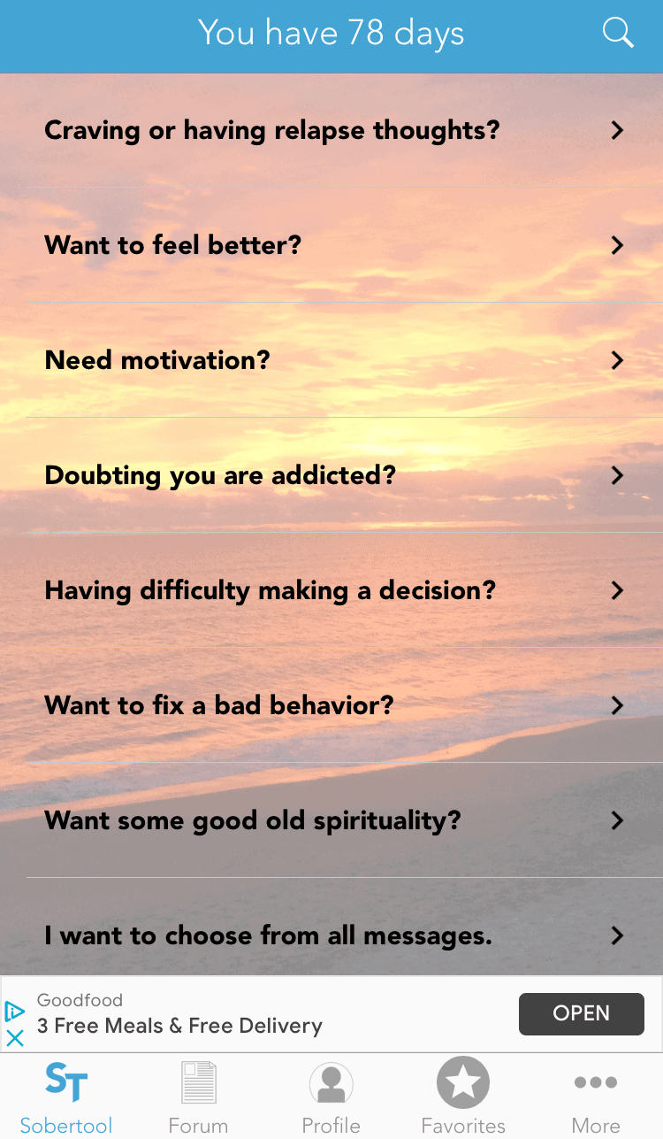 SoberTool home screen