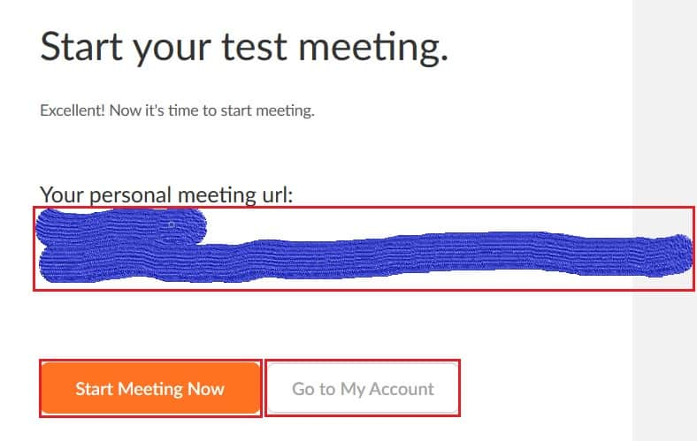 Start a test meeting screen with personal meeting URL