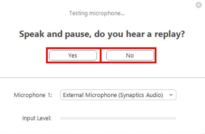 Test microphone by speaking