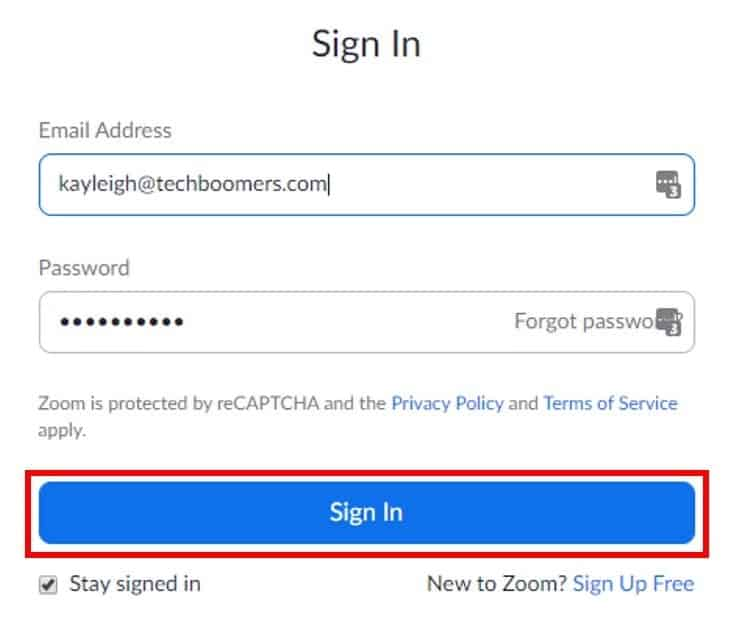 Admin account sign in screen