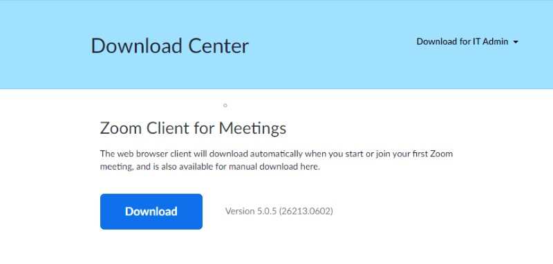 Download Center screen with desktop client for Meetings download button