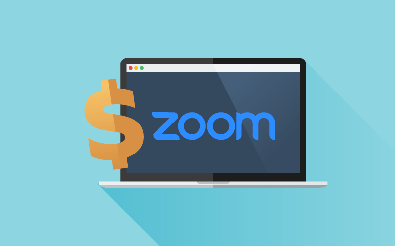 Zoom logo on computer with dollar sign