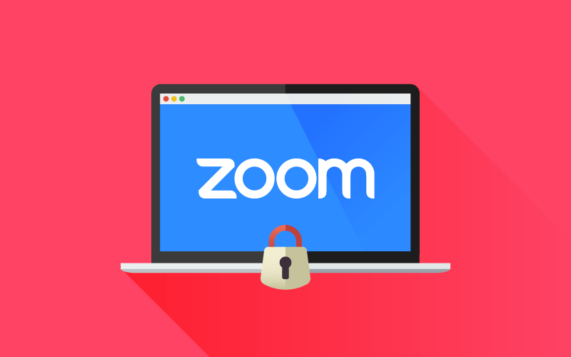 Zoom logo on laptop with lock icon