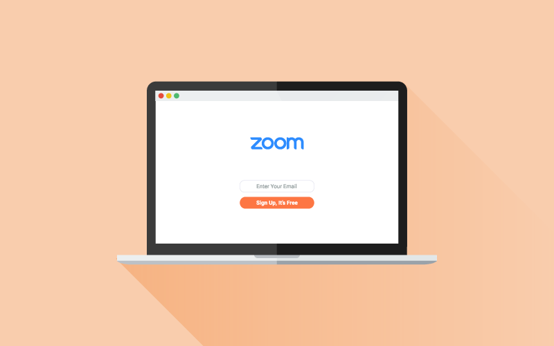 Laptop with Zoom sign up screen