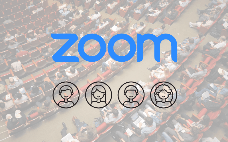 Zoom logo with audience members