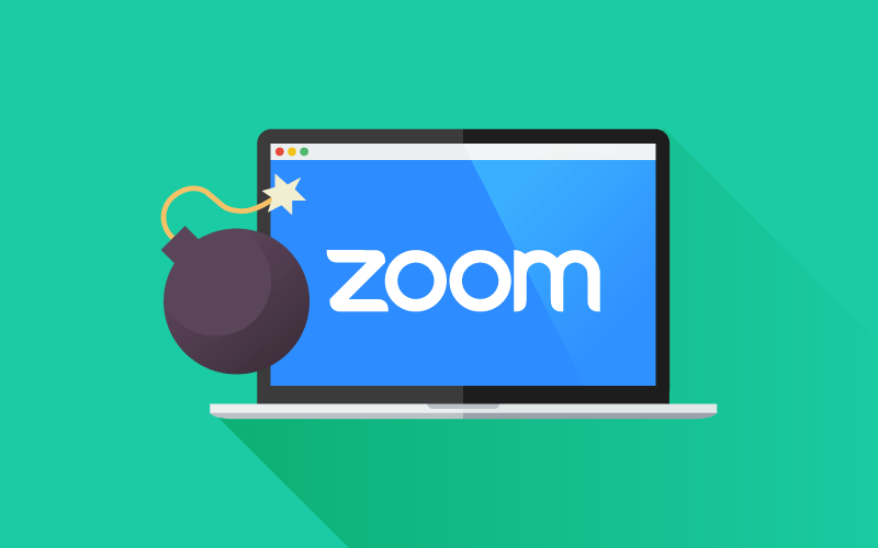 Laptop with Zoom logo and bomb icon on screen