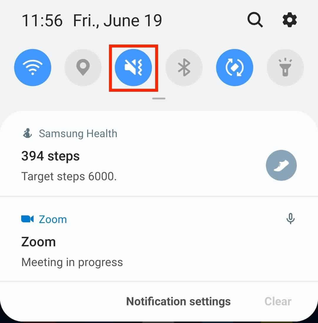 Notification panel with a sound icon on an Android device