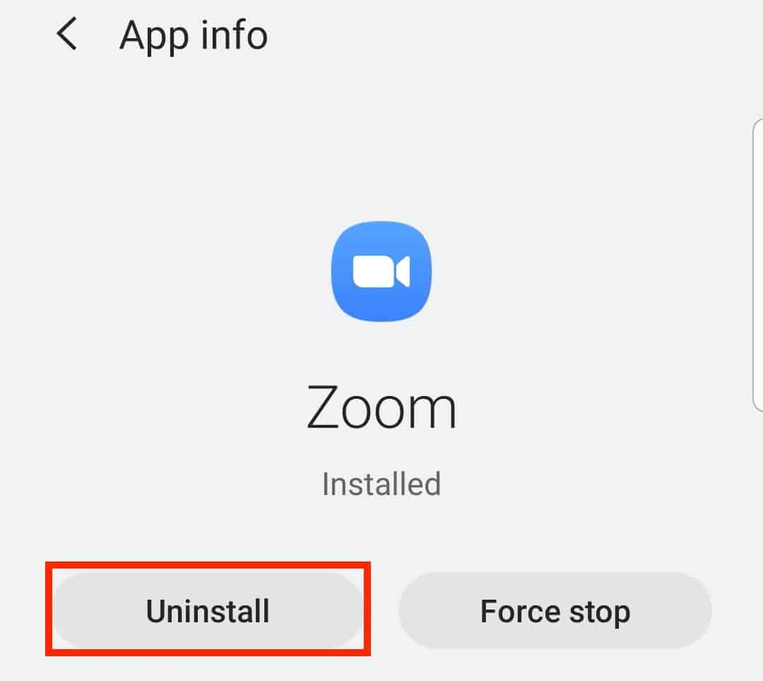 Uninstall option on an Android device