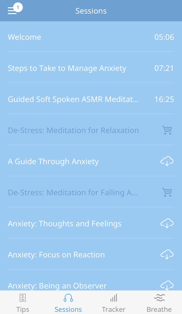 Anxiety Reliever audio sessions list
