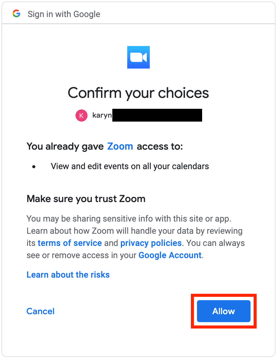 Google allow access page