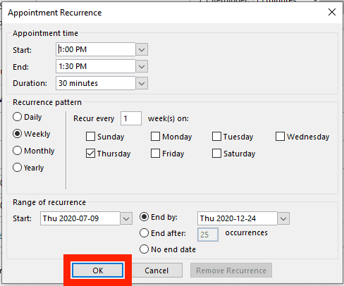 OK button in Appointment Recurrence window