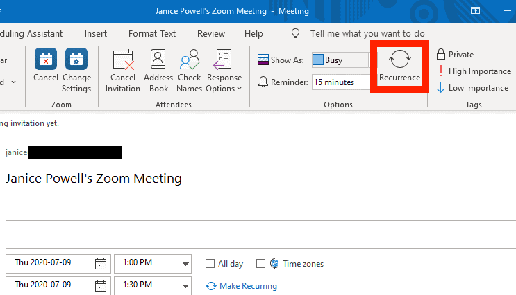Outlook recurrence icon