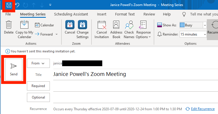Outlook send and save icons