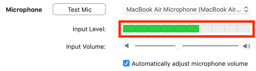 Microphone settings Input Level bar