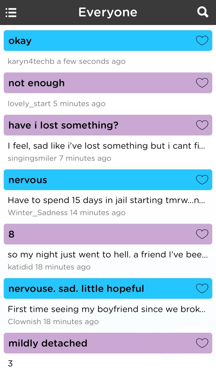 Moodtrack Social Diary community mood updates