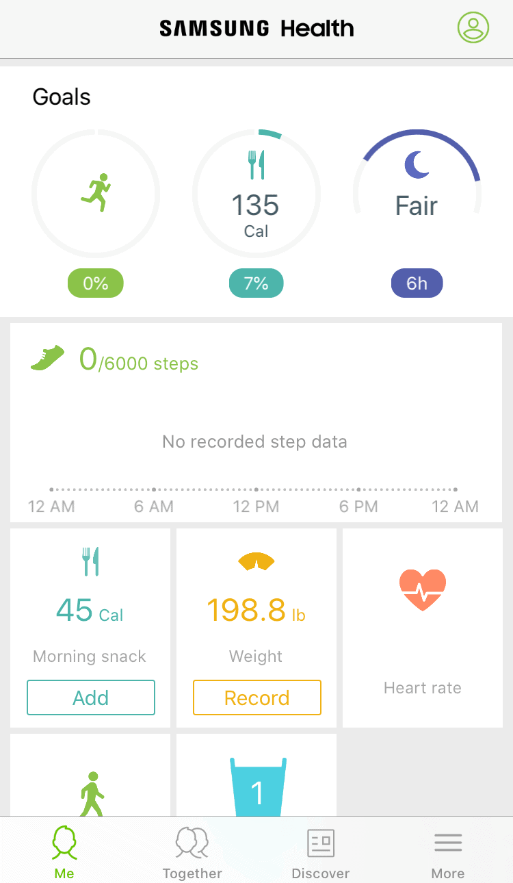 Samsung Health home screen