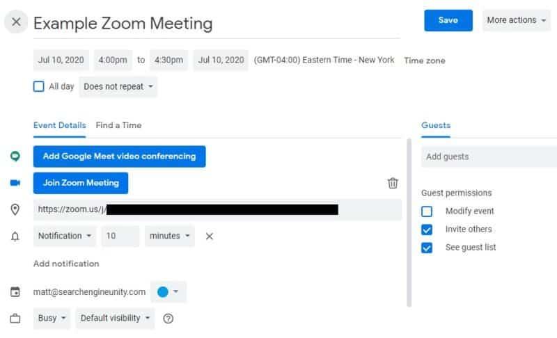 Google Calendar event scheduling