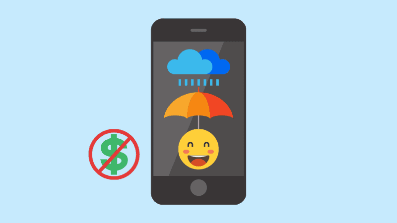 A graphic of a smartphone, displaying a happy face under an umbrella in the rain, with a crossed-out dollar sign next to it
