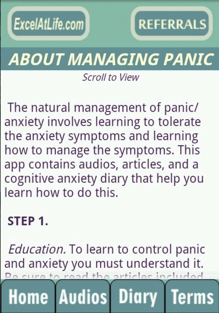Stop Panic & Anxiety Self-Help info screen