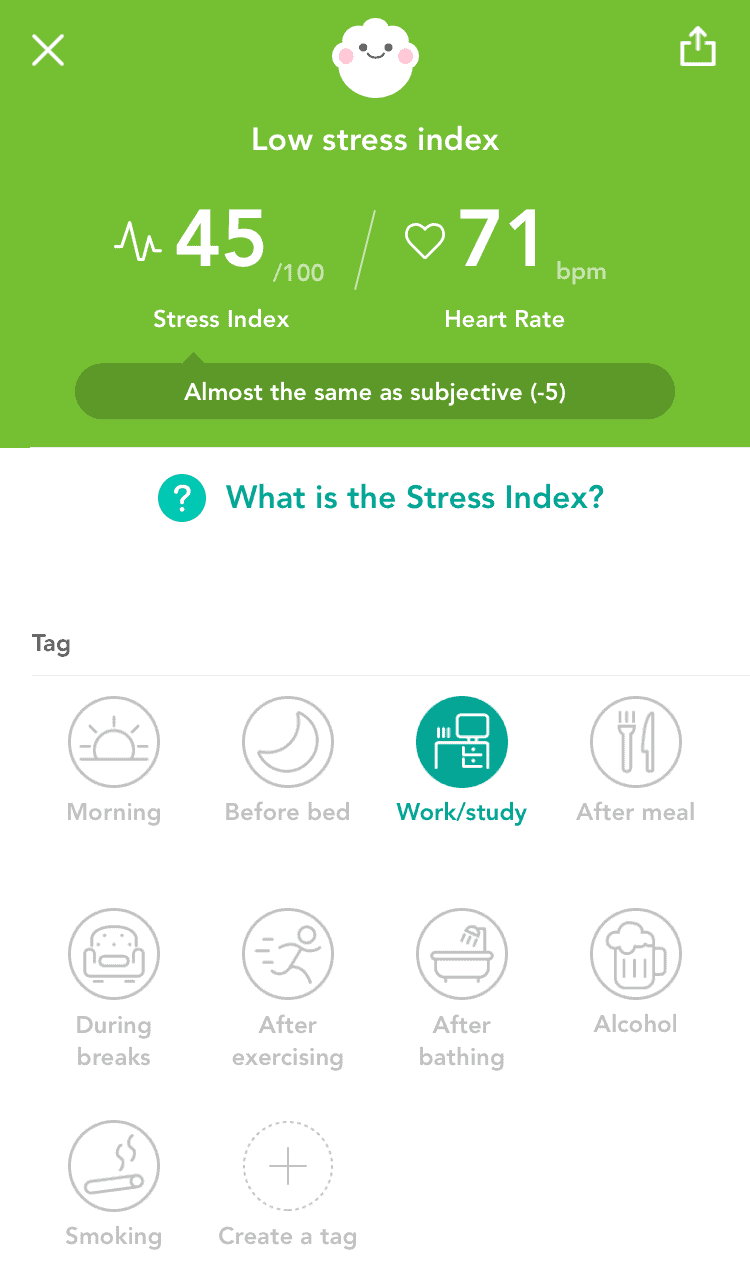 StressScan daily results screen