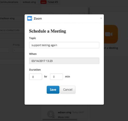 Schedule meeting using Zendesk