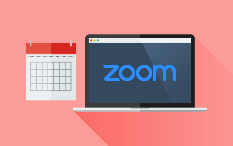 A graphic of a computer with the Zoom logo on the screen, next to a calendar