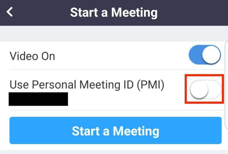 Off toggle next to Use Personal Meeting ID
