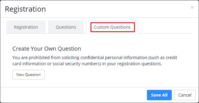 Custom Questions tab