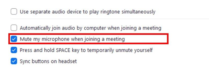 Audio settings with mute microphone when joining a meeting