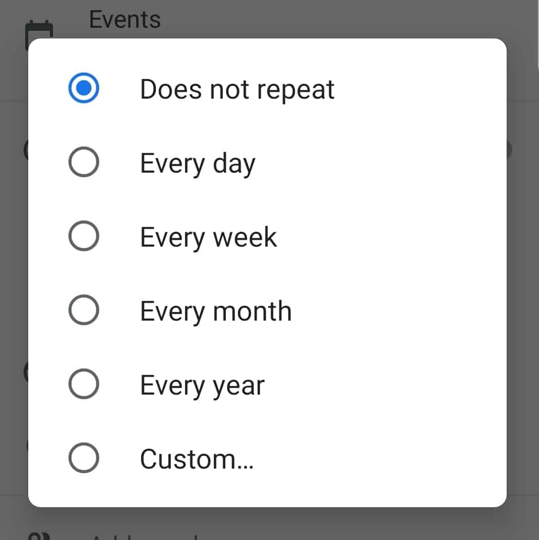 Recurrence options in Google Calendar