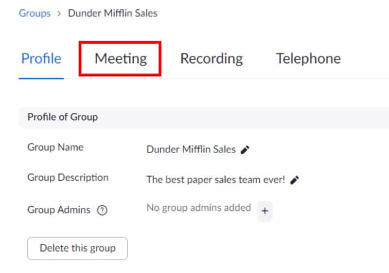 Meeting link under group settings