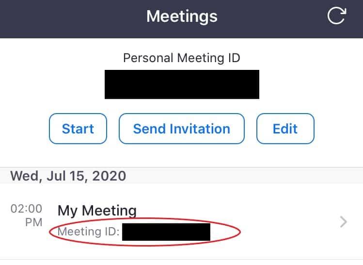 Meetings list in app