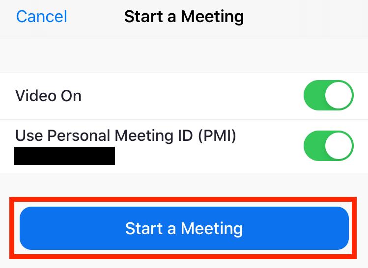 Start a Meeting button