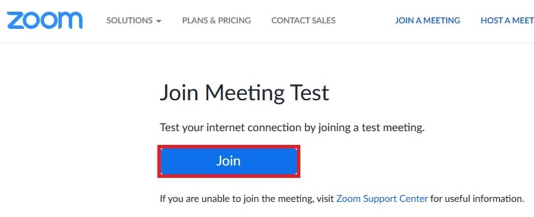 The button for joining a Zoom test meeting