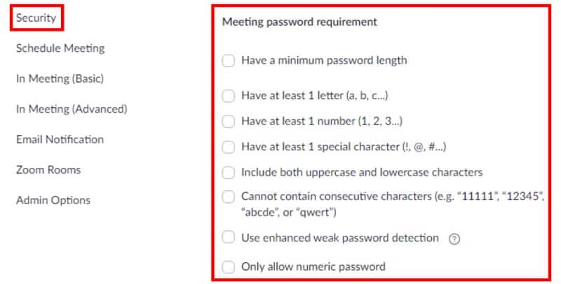 Meeting password requirement section