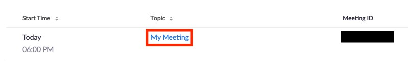 Topic selected from meeting listings