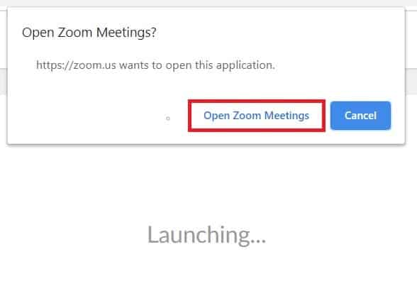 Prompt to open the Zoom Meetings client for your device