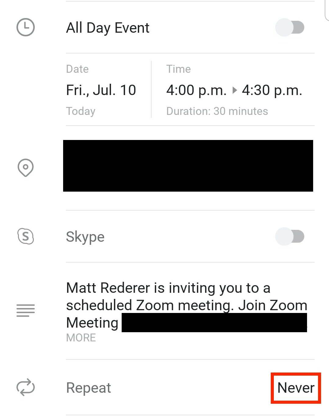 Never location on Outlook meeting screen