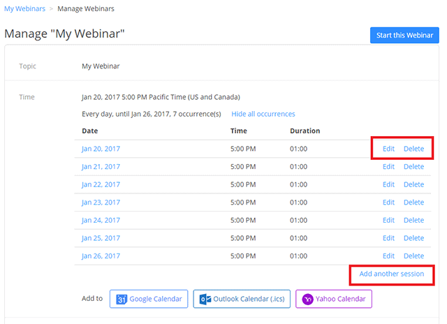 List of all dates for a recurring webinar