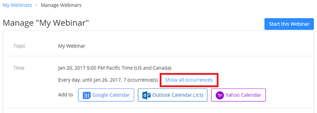 Show all occurrences on Manage Webinar page